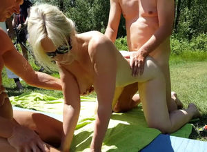 Blond mature group-fucked by strangers..