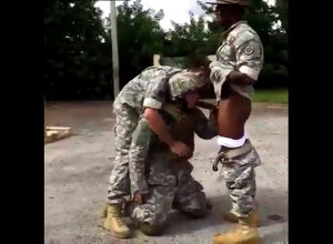 Soldier coerced to gargle ebony stiffy