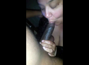 Obese brazilian gal suck off dark-hued..