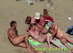 One huge-titted hoe for trio boys on..