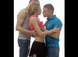 2 men smooches maiden girl. When nude..