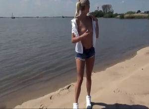 Slender german blond get poked at the..