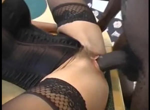 Curly wifey in harness gets smashed by..