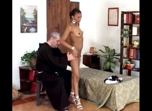Older priest peels off nubile african..